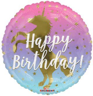 Jednorog zlatni Happy Birthday balon