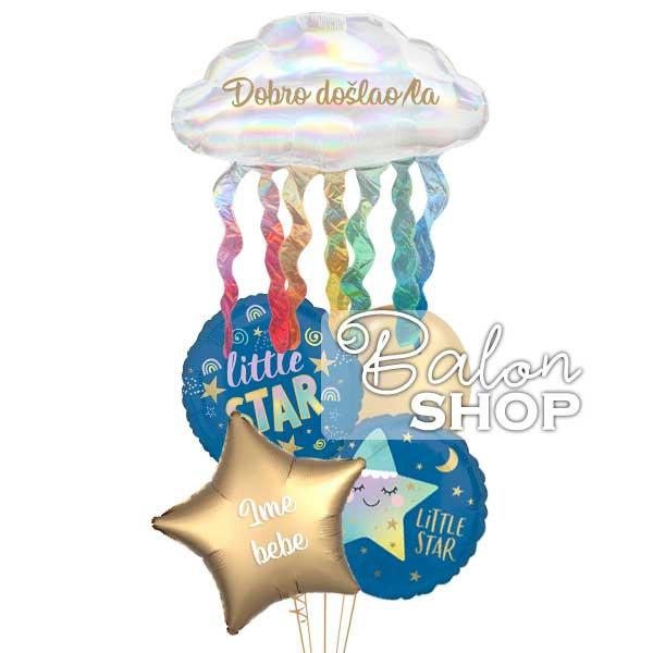 dobrodosla mala zvezdice baloni za rodjenje bebe
