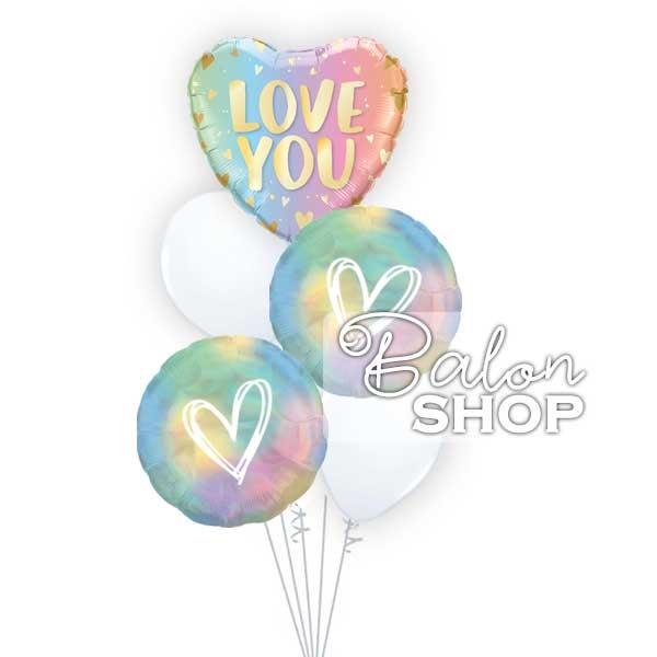 pastelni buket love you helijumskih balona