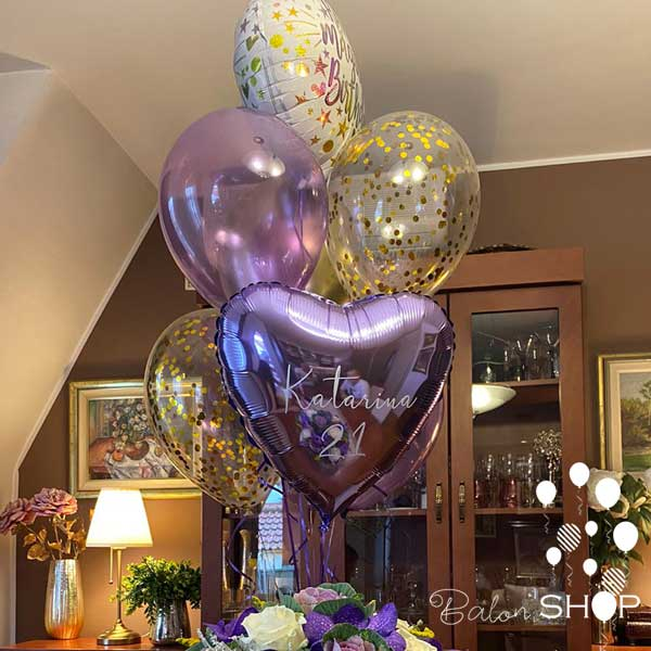 ljubicasti baloni buket uzivo rodjendan