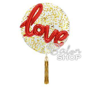 Love na velikom balonu sa konfetama