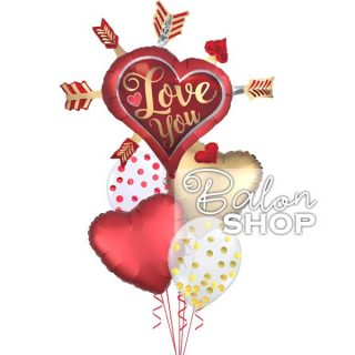 Love you zlatno-crveni buket balona sa konfetama