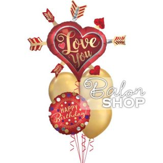 Love you & Happy Birthday buket helijumskih balona
