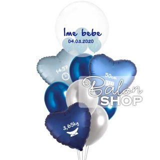 Elegantni baloni za rođenje dečaka u buketu