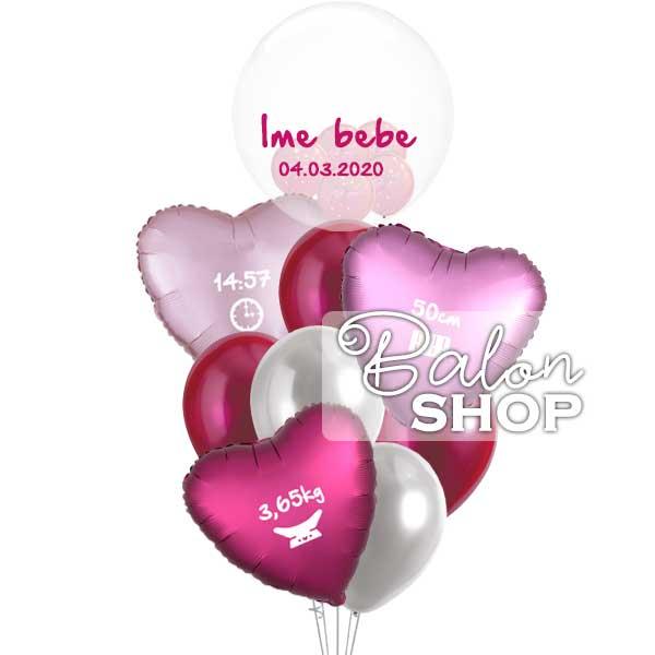 elagantni baloni za rodjenje bebe u buketu