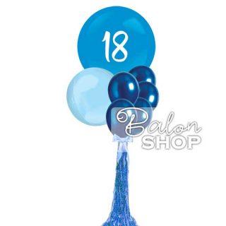 Džinovski buket za 18. rođendan u plavoj boji