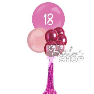 Džinovski buket za 18. rođendan u roze boji