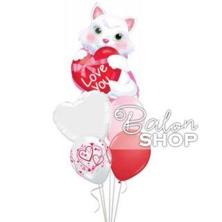 Zaljubljena maca buket balona
