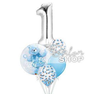 Baloni za prvi rođendan Meda u buketu za dečaka