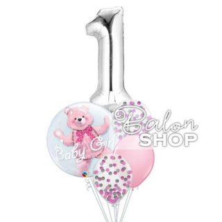 Baloni za prvi rođendan Meda u buketu za devojčice