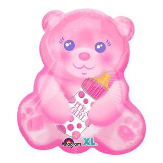 Roze meda sa flašicom balon It's a girl