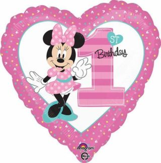 Minnie mouse prvi rođendan srce balon