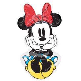 Minnie Mouse veliki balon sa crvenom mašnom i plavom haljinom