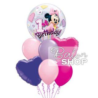 Roze & Ljubičasti baloni za 1. rođendan sa Minnie