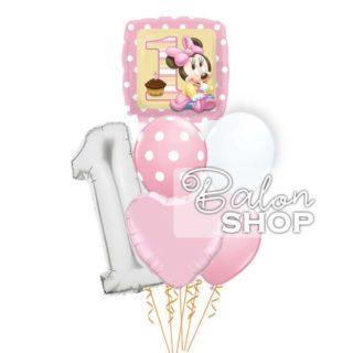 Minnie sa brojem jedna u buketu za prvi rođendan