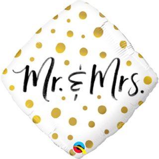 Mr&Mrs balon sa zlatnim tufnicama