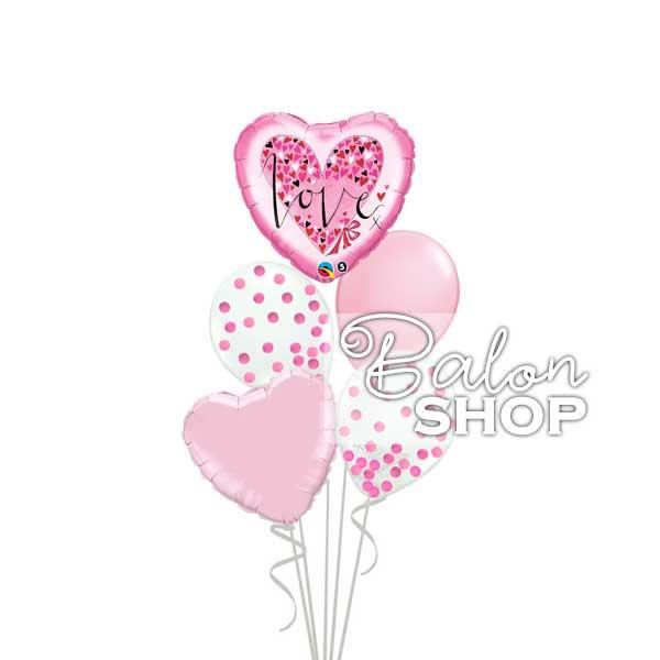 pink love buket balona