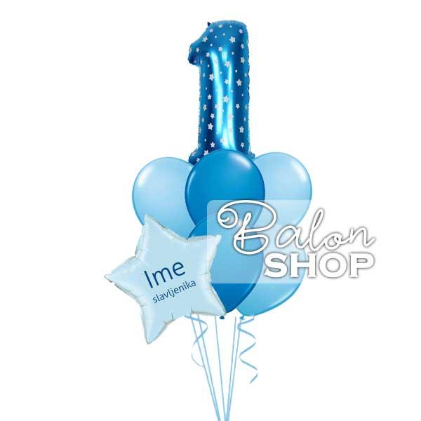 plavi baloni za prvi rodjendan sa imenom