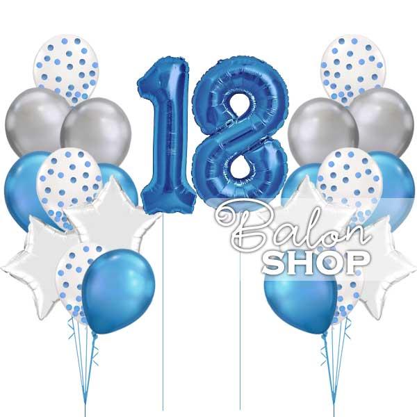 baloni za 18 rodjedan set plavo srebrni