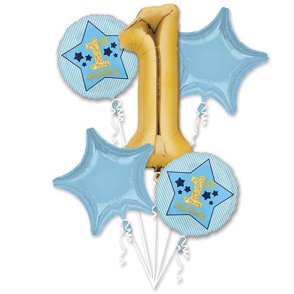 plavo zlatni buket za prvi rodjendan