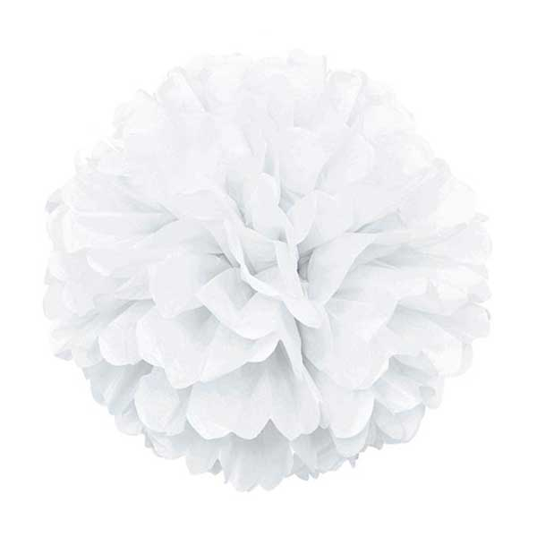 pom pom bela papirna lopta