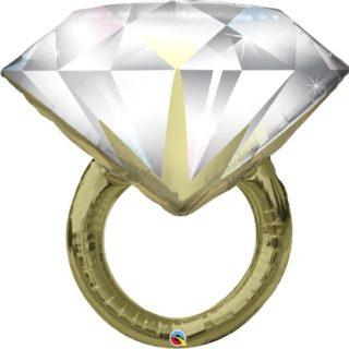 Prsten balon zlatni sa dijamantom