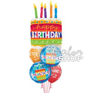 Buket balona za rođendan Torta sa svećicama