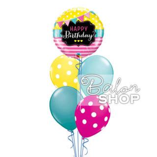 Happy Birthday sa tufnama baloni u buketu