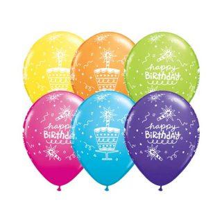 Gumeni rođedanski baloni sa tortom i svećicama