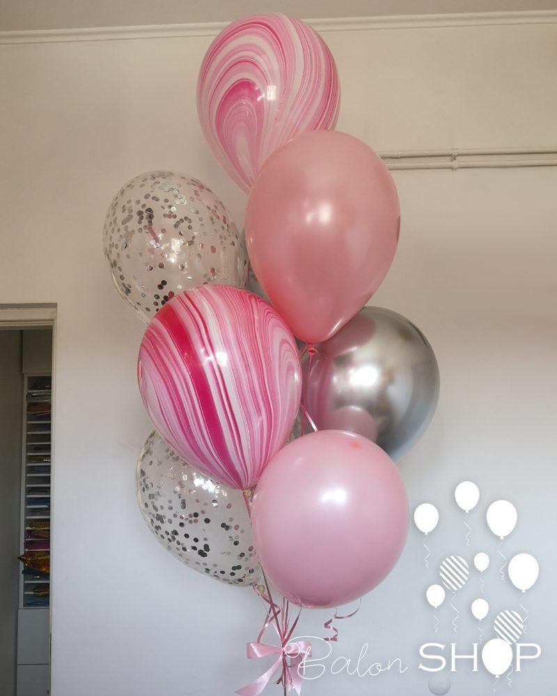 roze srebrni baloni