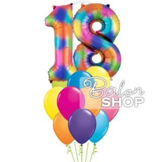 Šareni helijumski buket sa brojem 18