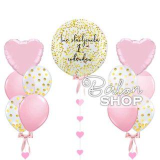 Veliki balon sa konfetama u setu za 1. rođendan devojčica
