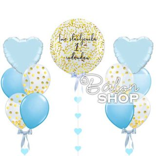 Veliki balon sa konfetama u setu za 1. rođendan dečak