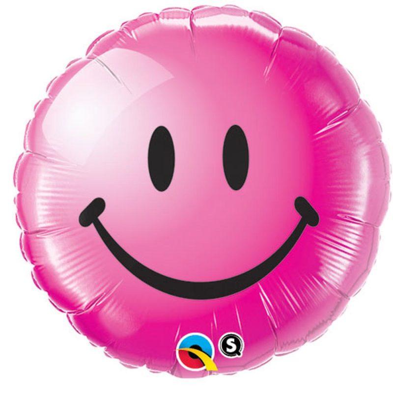 smile face roze balon