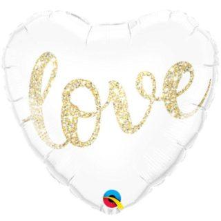 Srce belo LOVE baloni sa helijumom