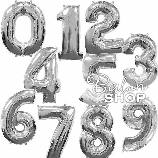 srebrni brojevi baloni