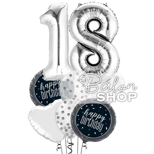 18 rodjendan srebrni buket balona