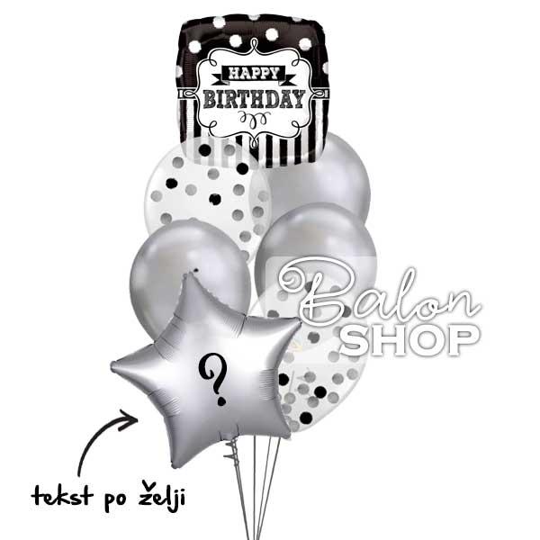elegantan crno srebrni baloni za rodjendan