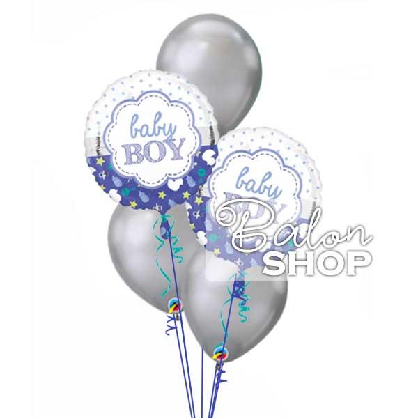 srebrno plavu buket za rodjenje decaka