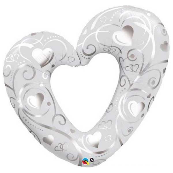 srebrno srce veliki balon