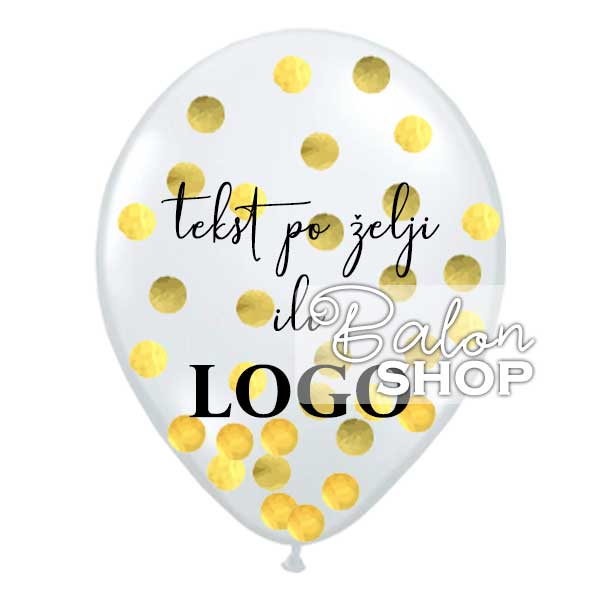 balon sa konfetama i štampom