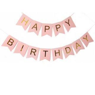 Roze baner Happy Birthday