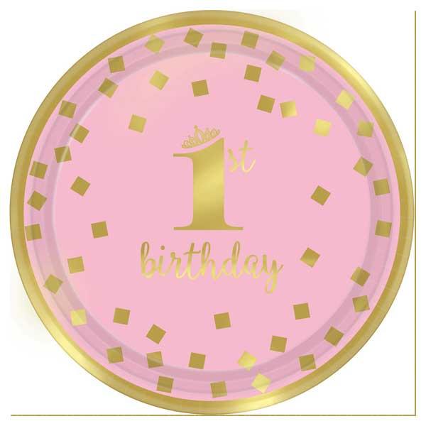 roze tanjir za prvi rodjendan devojcica