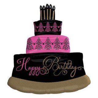 Elegantna rođendanska torta balon crno roza