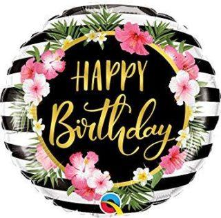 Tropical Happy Birthday balon sa cvetovima