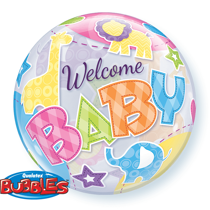 welcome baby bubble balon