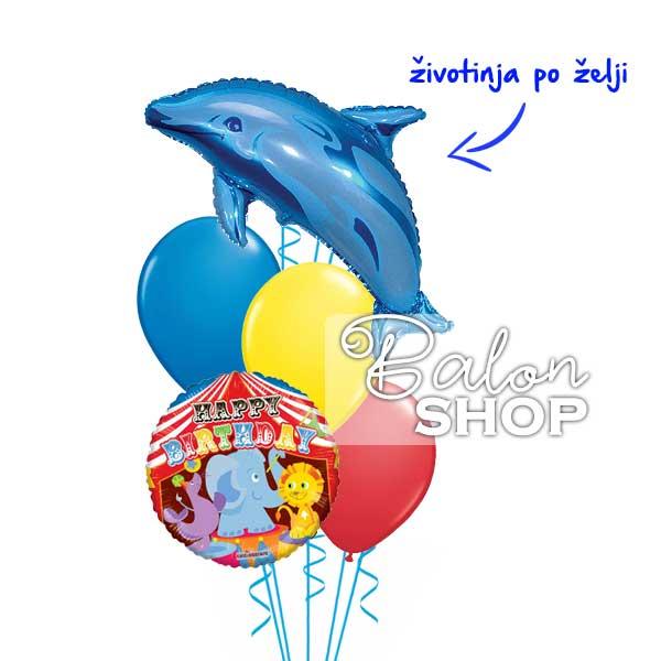 zivotinje u cirkusu rodjendanski baloni u buketu