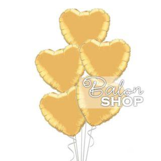 5 zlatnih srca u buketu balona