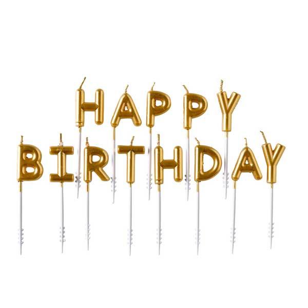 zlatne happy birthday svecice za tortu