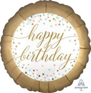 Chrome zlatan Happy Birthday balon sa konfetama